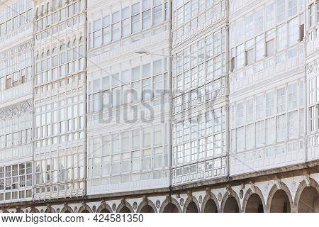 Picturesque White Balconies Glass Facades In A Coruna. Galicia, Spain
