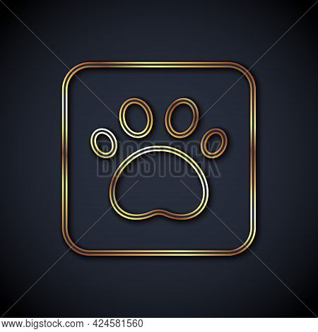 Gold Line Paw Print Icon Isolated On Black Background. Dog Or Cat Paw Print. Animal Track. Vector