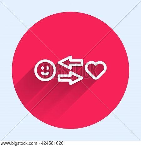 White Line Romantic Relationship Icon Isolated With Long Shadow. Romantic Relationship Or Pleasant M
