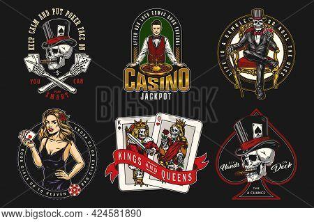 Vintage Colorful Gambling Labels With Croupier Skull Smoking Cigar Skeleton Gambler In Tuxedo And To