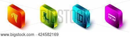 Set Isometric Bandana Or Biker Scarf, Hunter Boots, Matchbox Matches And Hunting Cartridge Belt Icon