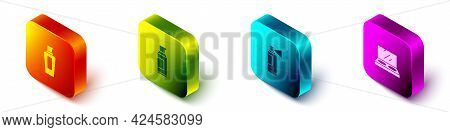 Set Isometric Bottle Of Shampoo, Spray Can For Hairspray, Perfume And Makeup Powder With Mirror Icon
