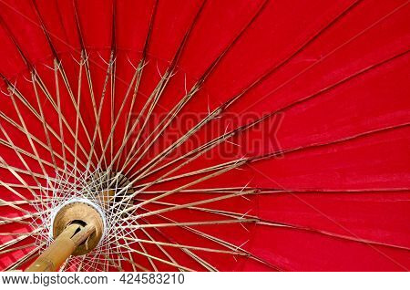 Thai Traditional Handmade Red Umbrella In Lanna Or Northern Style Of Thailand
