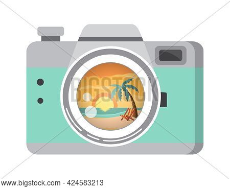 Vector Illustration Of A Photo Camera With A Reflection Of The Beach Landscape In Lens. Beach, Palm