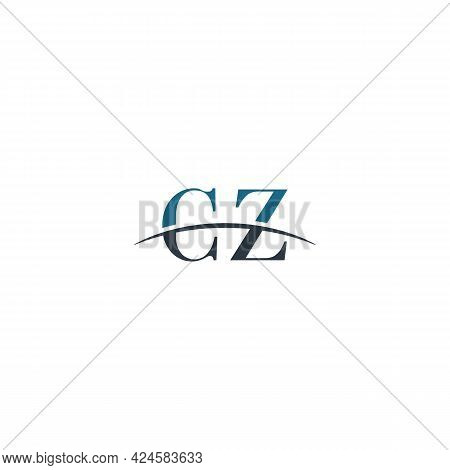 Initial Letter Cz, Overlapping Movement Swoosh Horizon Logo Company Design Inspiration In Blue And G