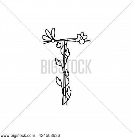 Vintage Floral Bold Letter T Logo Spring. Classic Summer Letter Design Vectors With Black Color And
