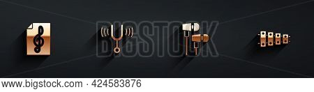Set Treble Clef, Musical Tuning Fork, Air Headphones And Xylophone Icon With Long Shadow. Vector