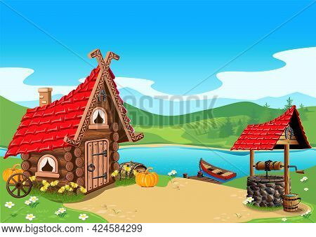 Fairy Tale Log House In A Village By The River With A Well, A Pier And A Boat. Beautiful Fairy Tale