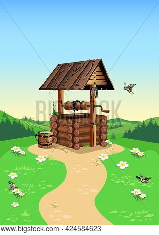 An Old Rustic Well Made Of Logs With A Wooden Roof Against The Background Of A Summer Landscape. Cou