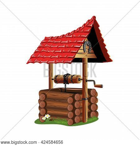 An Old Village Well Made Of Logs With A Roof. Well With Clean Water. Fairy Tale Vector Illustration