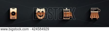 Set Online Play Video, Comedy Theatrical Mask, Camera Roll Cartridge And Retro Typewriter Icon With