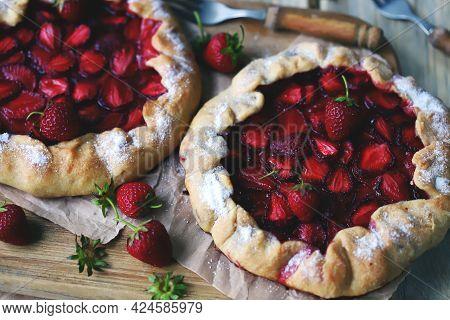 Strawberry Galette. Healthy Summer Dessert With Strawberries.