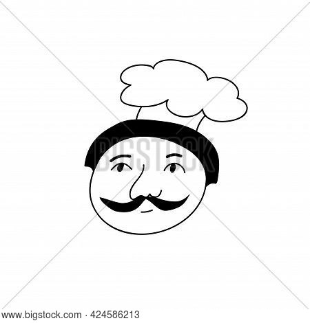 Hand Drawn Human Face Doodle. A Man In A Chefs Hat. Isolated Ink Pen Drawing. Pencil Drawing. Simple
