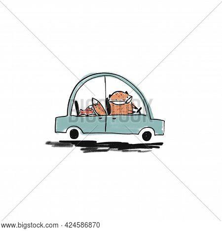 Cute Sketch Hand Drawn Color Pencil Orange Foxes In Car Illustration. Bright Cartoon Childish Funny