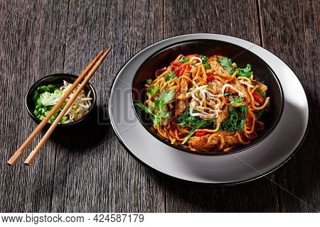 Fried Soy Meat Strips With Spicy Egg Noodle,  Bean, Sprouts, Kale, Cilantro And Chili In A Bowl, On