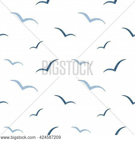 Watercolor Navy Blue Abstract Seagull Seamless Pattern. Sea Life. Flying Gull Birds Silhouettes In T