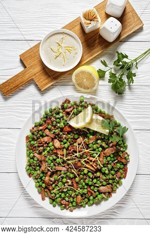 Lebanese Warm Lentil And Green Peas Salad With Bacon, Lemon Zest, And Lemon And Olive Oil Dressing S
