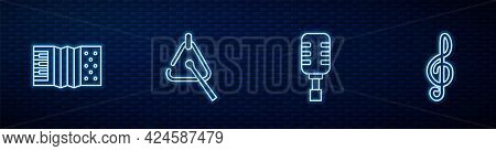 Set Line Microphone, Accordion, Triangle And Treble Clef. Glowing Neon Icon On Brick Wall. Vector