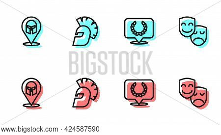 Set Line Laurel Wreath, Greek Helmet, And Comedy And Tragedy Masks Icon. Vector