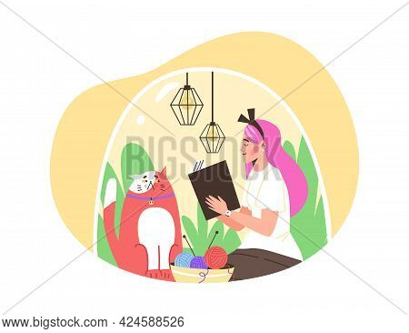 Happy Girl Introvert Sitting Under Transparent Dome With Cat And Reading Book.