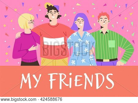 Group Of Happy Friends Introverts And Extroverts A Vector Illustration