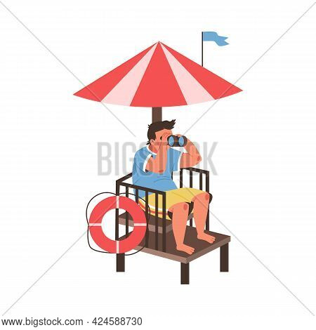 Lifeguard Man Sitting At His Rescue Post, Flat Vector Illustration Isolated.