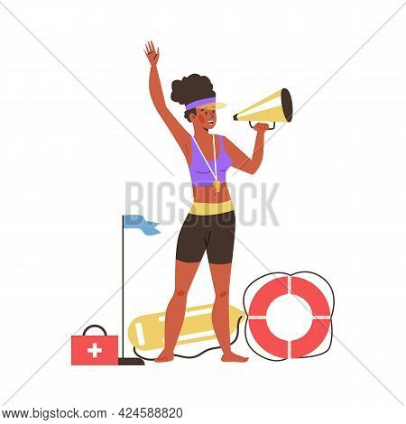Lifeguard On Beach Makes With Megaphone, Isolated Flat Vector Illustration.