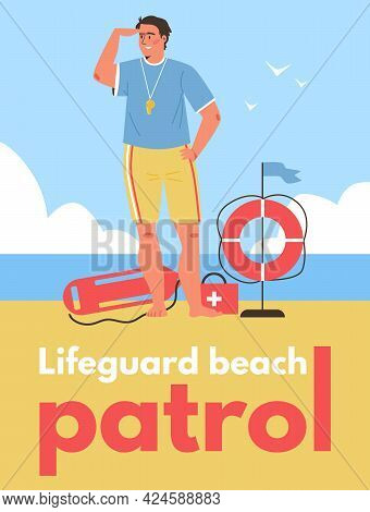 Lifeguard Beach Patrol Banner With Rescuer On Duty, Flat Vector Illustration.