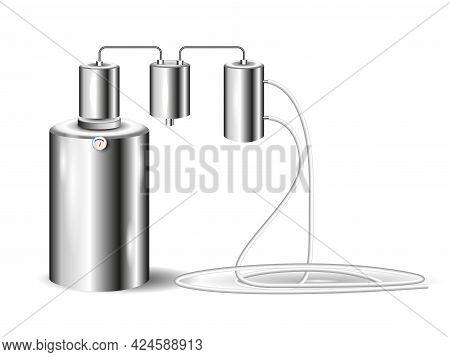 An Industrial Distiller. Distill Water. Vector Illustration.