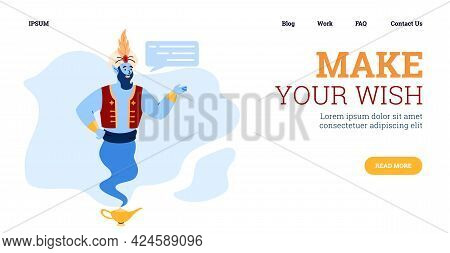 Make Your Wish - Header Of Web Banner With Genie, Cartoon Vector Illustration.