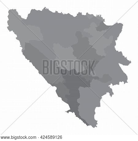 Bosnia And Herzegovina Administrative Grayscale Map Isolated On White Background