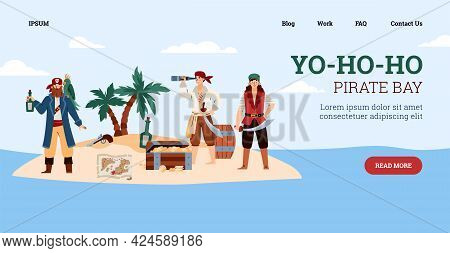 Website For Pirate Party Or Game With Pirates On Island, Vector Illustration.