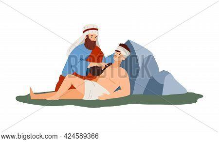 Abraham Sacrifice Scene Of Bible, Flat Vector Illustration Isolated On White.
