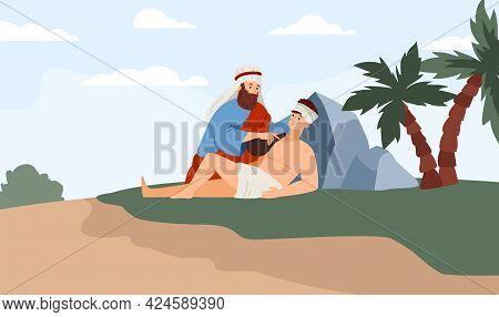 Biblical Old Testament Trial Of Abraham Narrative, Flat Vector Illustration.