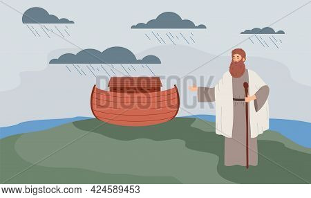 Background With Bible Jewish Patriarch Noah And Ark, Flat Vector Illustration.