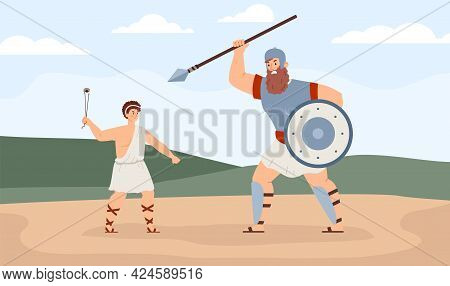 Biblical King David Fighting With Giant Goliath, Flat Vector Illustration.