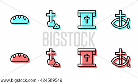 Set Line Flag With Christian Cross, Bread Loaf, Christian And Fish Icon. Vector