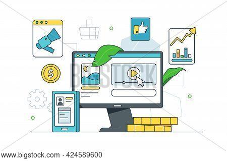 Set Of Potential Advertising Mediators Vector Illustration. Digital Platforms To Multiple Ad Flat St