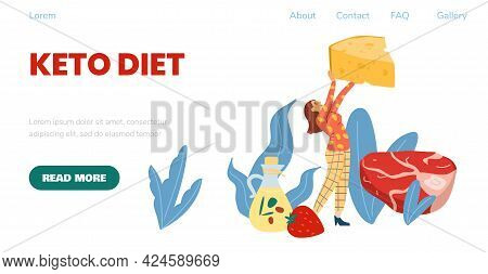 Keto Diet Web Banner With Woman Among Ketogenic Food, Vector Illustration.