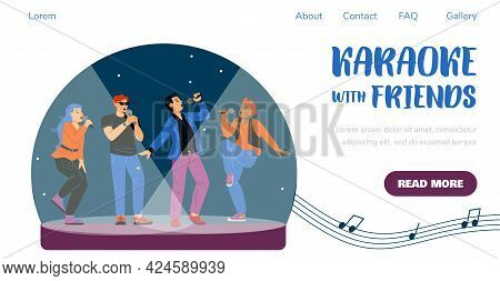 Landing Page Template For Karaoke Or Music Show Party At Nightclub.