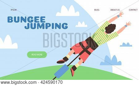 Extreme Bungee Jumping Website Mockup With Man Jumps, Flat Vector Illustration.