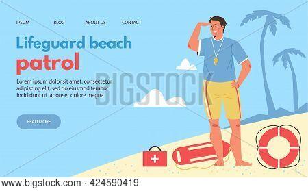 Lifeguard Beach Patrol Website Mockup With Lifesaver Flat Vector Illustration.