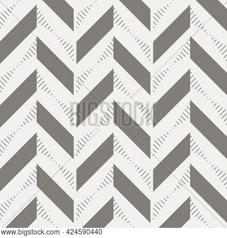 Herringbone Abstract Background. Black Colors Surface Pattern With Chevron Diagonal Lines. Classic G
