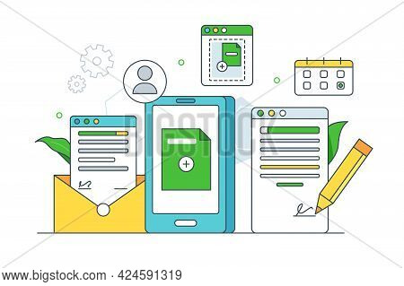 Organization Storage Of Online Documentation Vector Illustration. Income And Outcome Mail, Agreement