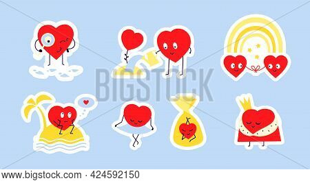 Love Heart Romantic Stickers. Sticker Pack Of Vector Isolated Illustrations In Flat Style. Happy Red