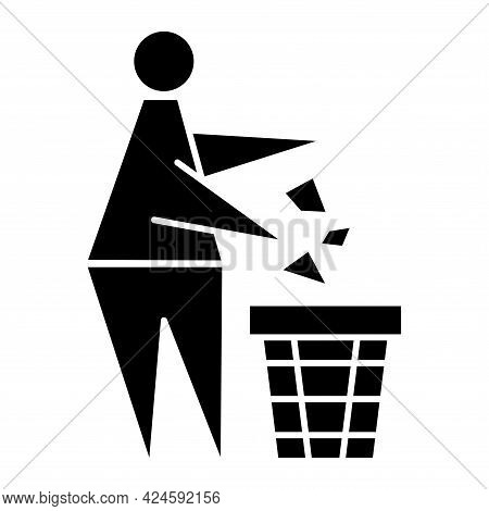 Tidy Man Or Do Not Litter Symbol. Keeping The Clean. Glyph Icon. Pitch In Put Trash In Its Place. Ke