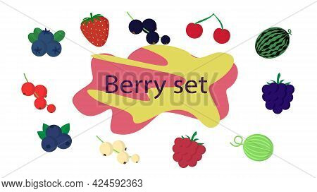 Berry In Flat Style Vector Illustration Set. Composition Of Various Berries Fruit Icons Drawn In Sim
