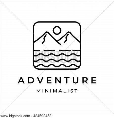 Mountain And Water Line Art Logo Simple Minimalist Illustration Icon Template Design. Adventure Logo