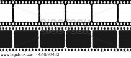 Black And White Grunge Film Strips. Old Retro Cinema Movie Strip. Video Recording. Vector Illustrati
