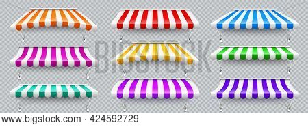 Colorful Various Shop Sunshade With Metal Mount. Realistic Striped Cafe Awning. Outdoor Market Tent.